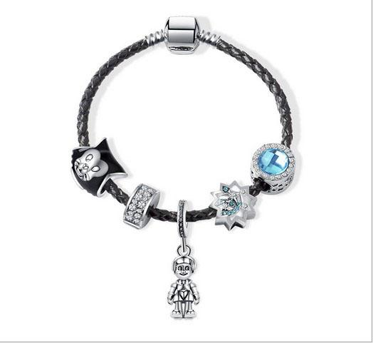 Wholesale 17-21cm 925 Sterling Silver Genuine Leather Bracelet Wishing Stars Black CaCharm Beads Fits European Charm Pandora Style Bracelets