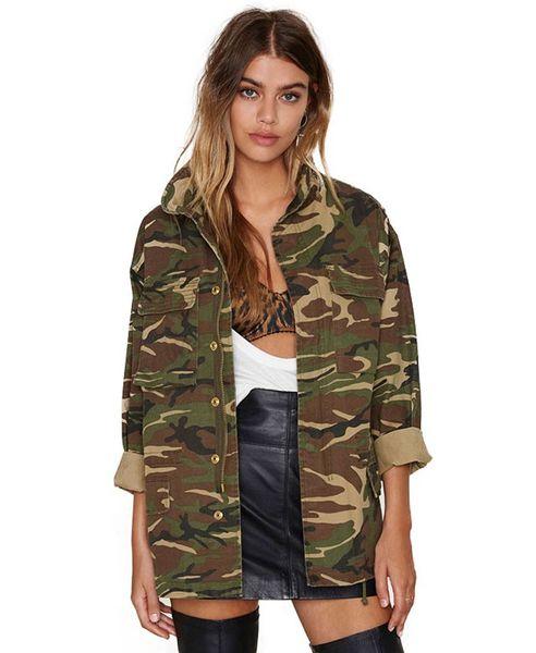 Fashion New camo jacket women plus Size Long Sleeve Denim Jacket Zipper closure Women's Jacket Coat S-2XL