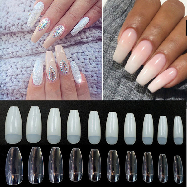 best selling 500Pcs bag Coffin Nails Long Ballerina Nail Tips Square Head French Fake False Nails ABS Artificial 10 Sizes Nature Transparent RRA2133