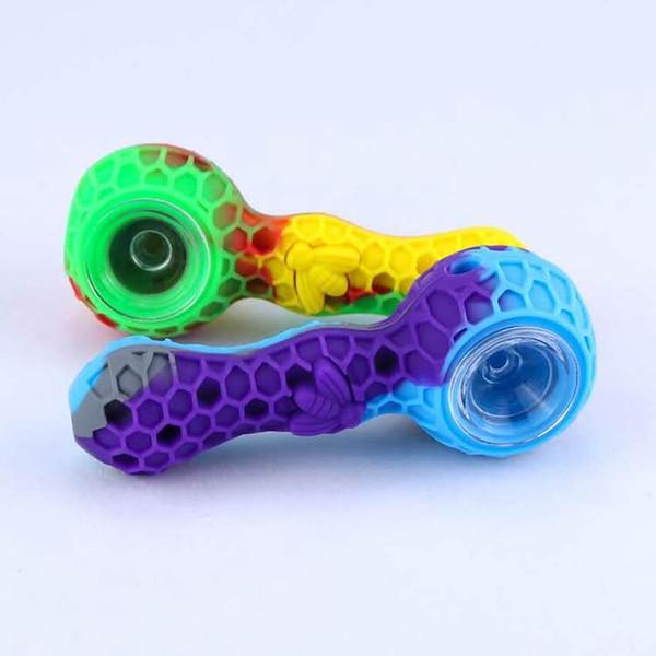 Colorido Mais Novo Portátil de Silicone tubo de tabaco para fumar Unbreakable mão colher Tubos com Abelha com tigela de vidro e ferramenta de cera Dabber