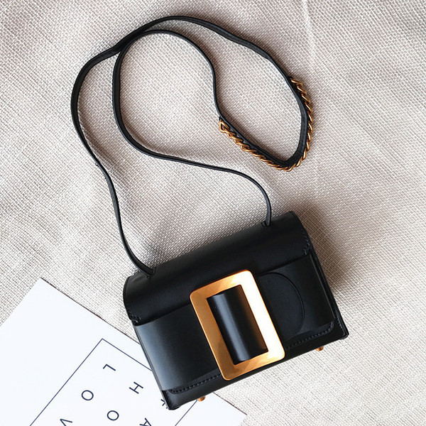 Elegant2019 Metal Niche Generous Buckle Single Shoulder Genuine Leather Woman Package Hundred Take Hand Mention The Messenger Small Bag