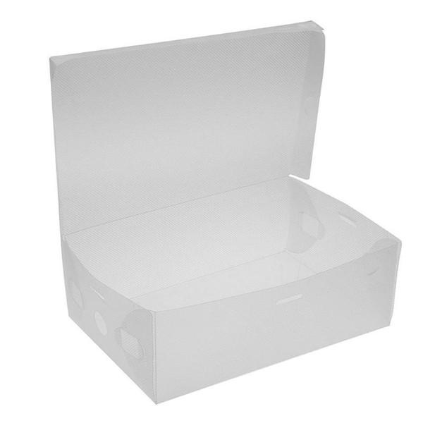 10pcs Shoe Storage Box Case Foldable Thicken Transparent Foldable Plastic Shoes Organizer Storage Boxes Holder Basket Shoe Box