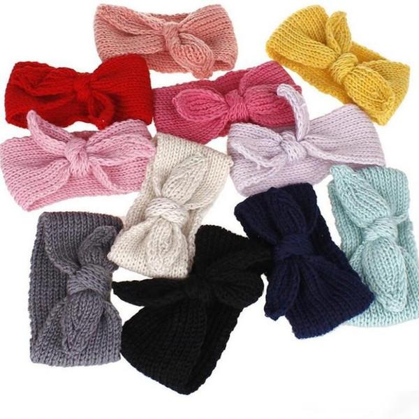 Durable Stretchy Haar-Band Schöne Acryl Wolle gestrickte Stirnband Crochet Kaninchenohren Schweißband Neue Ankunft