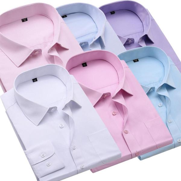 Satin Al 6 Renk Bahar Sonbahar Erkekler Is Gomlekler Erkek Resmi