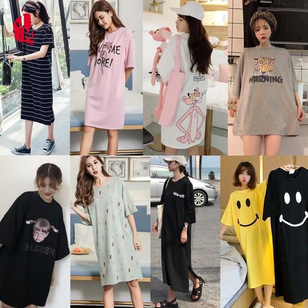 Summer Nightdress Women Cotton Cartoon Sleepwear Women Cotton Short Sleeve Plus Size Nightwear Nightgown Sexy Home Dress Sleep