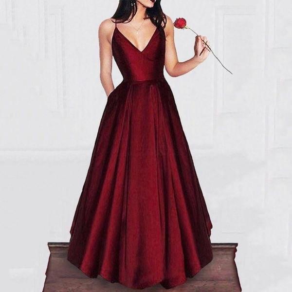 Mais barato 2019 Borgonha Vestidos de Noite Uma Linha Elegante Mulheres Prom Vestidos de Cintas de Espaguete de Cetim Partido Vestidos Com Bolsos