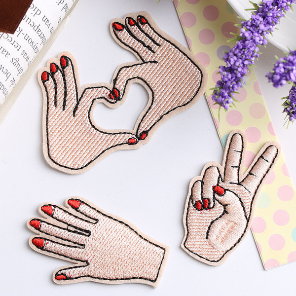 top popular Peace Hand Clothes Embroidered Iron on Patches for Clothing DIY Stripes Motif Appliques Love patch for clothes bag 2021