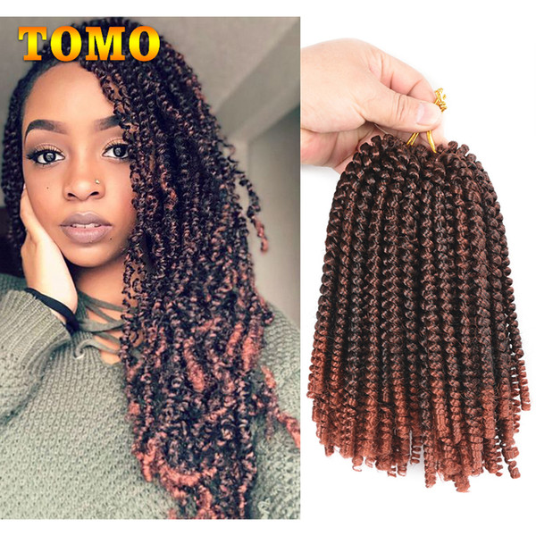 2019 Tomo Hair Crochet Hair Braiding 8 Inch Short Curly Twist 30 Strands Pack Synthetic Spring Twist Ombre Braiding Hair For Black White Woman From