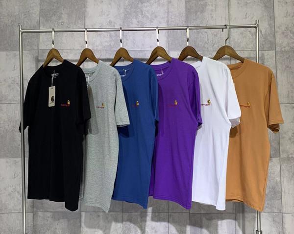 2019 principios de la primavera CARHARTTS 19ss clásico bordado en oro pequeño con logo Camiseta de camiseta de pareja Código S M L XL