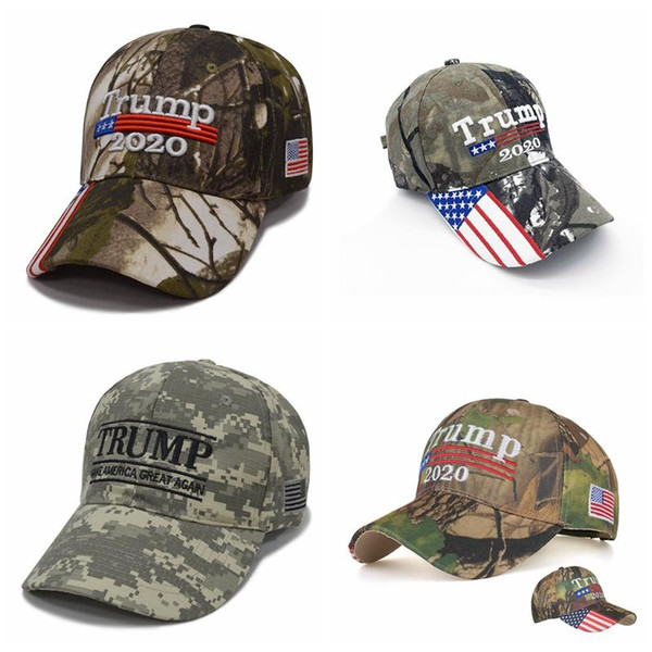 top popular Camouflage Donald Trump hat USA Flag baseball cap Keep America Great 2020 Hat 3D Embroidery Star Letter Camo adjustable Snapback FFA1850 2019