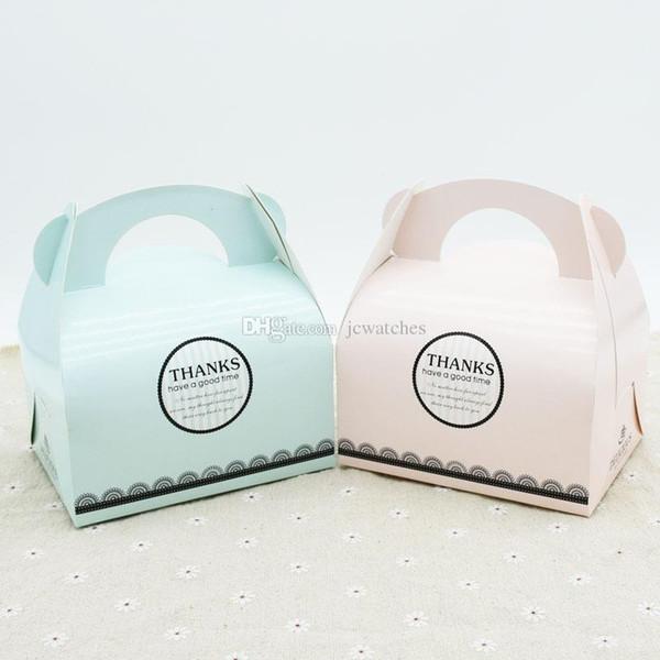 Mango portátil Panadería Cajas de pastel Mousse Galletas Pastelería Cajas de embalaje Pinkk Azul Envío gratis al por mayor