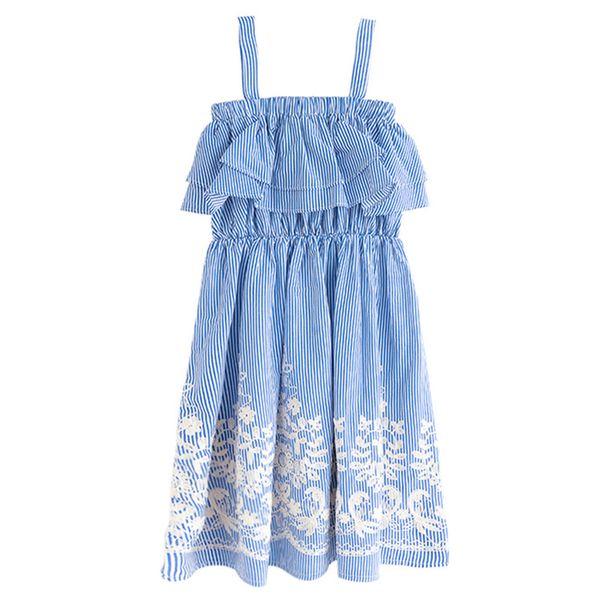 6 to 16 year kids & teenage girls summer striped embroidery print flare dress girl fashion cotton casual ruffle sleeveless dress
