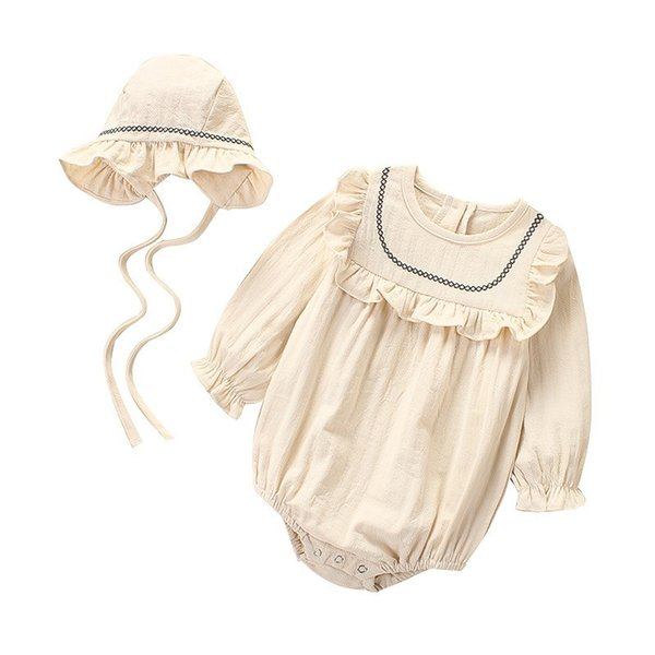 Fall Toddler Baby Girls Rompers Ruffle Collar Linen Cotton Long Sleeve Jumpsuits with Hat 2pieces Set Kids Girls Bodysuit Babies Romper 0-3T