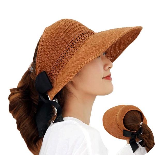 Summer Women Sun Hat With Wide Brim Cap Ponytail Visor Lady Foldable Protection Sun Suncreen Floppy Cap Femme Outdoor Beach Hat
