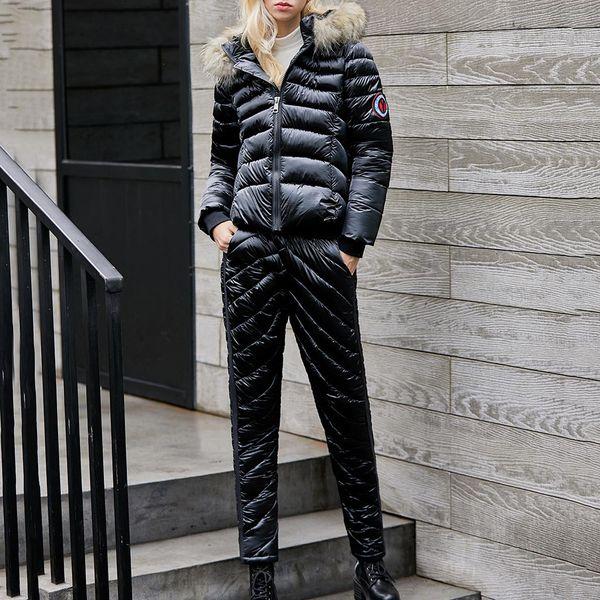 women ski suit set 2020 fashion casual thick snowboard skisuit outdoor sports zipper ski suit casacos de inverno feminino