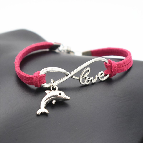 Rose Red Leather Suede Cuff Bracelets Vintage Female Male Punk Infinity Love Animal Lovely Dolphin Charm Bangles For Women Men Jewelry Gift