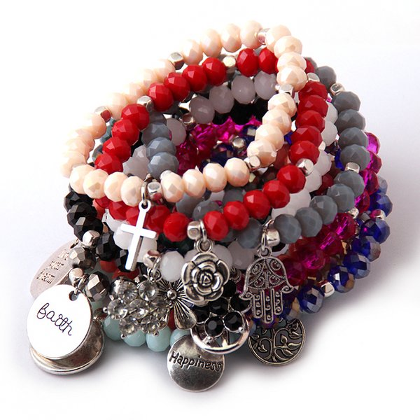 New Design Energy Bracelets Made Beautiful Glass Crystal Metal Charm Bracelet Bangle 12pc/lot Y19051101