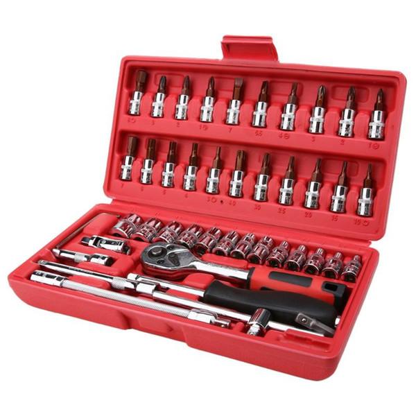 Définit la main Définit 46pcs / set Combinaison d'acier au carbone Jeu d'outils Clé à cliquet tête lot Pawl Socket Spanner Tournevis ménages voiture ... Repai