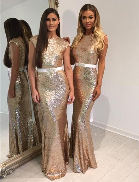 Bling Bling Mermaid Bridesmaid Dresses Floor Length Gold Sequined White Beaded Belt Sexy Dress For Wedding Party Robe demoiselle d'honneur