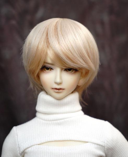 D01-P227 children handmade toy 1/3 1/4 Doll Accessories BJD/SD doll wig short Anti-warping short white gold hair