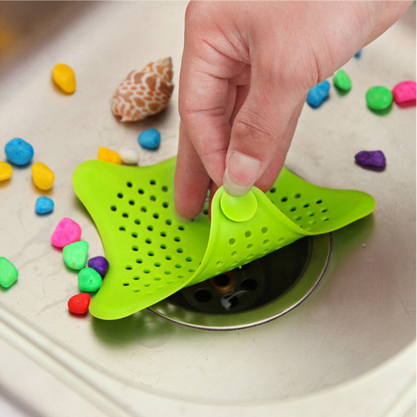 top popular HOT Star Silicone Sink Strainers Sewer Outfall Filter Sewer Drain Hair Colander Bathroom Cleaning Kitchen Gadgets Accessories 2021