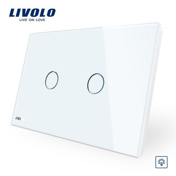 El panel de cristal de cristal blanco marfil de Livolo, interruptor de pared estándar de AU / US, interruptor de luz de la pared del hogar de Dimmer Touch