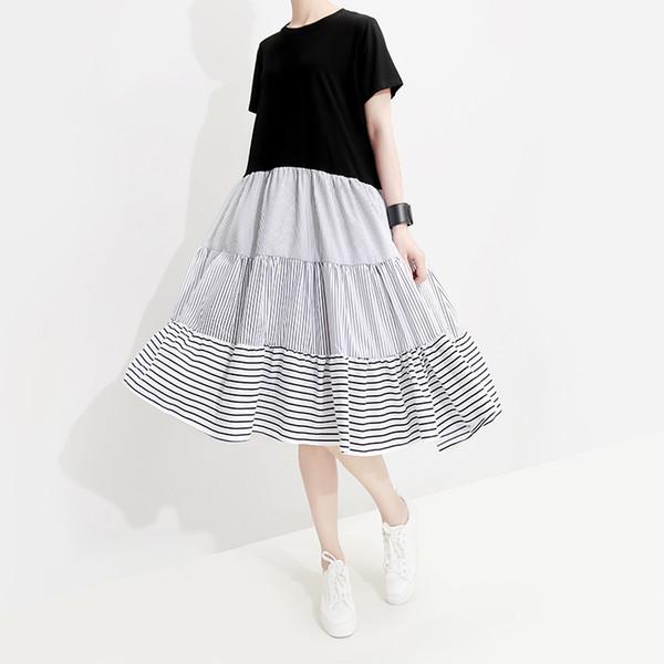 Nuevo 2019 Estilo coreano Mujeres Patchwork negro Vestido de verano Manga corta Mujer Linda A-Line Cute Wear Vestidos a media pierna Robe Femme F334