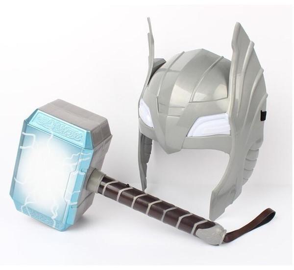[ARRIBA] Cosplay infantil The Avengers 2 Thor LED de luz luminosa que suena Casco Arma martillo modelo de terremoto de juguete regalo de fiesta