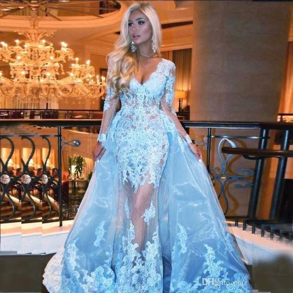 Nuovi abiti da ballo blu chiaro sexy a buon mercato con scollo a V in pizzo con applicazioni di perline illusione in tulle con sovracoperte taglie forti abiti da sera per ragazze