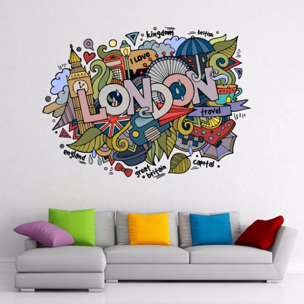 I Love London Illustration Fashion Wedding Decor Vinyl Waterproof Wall Sticker Bedroom Wallpaper Wall Decal Baby Rooms Decor (50cm)