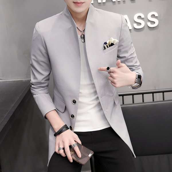 HO 2019 men's suits Cultivate one's morality leisure fashion collar A suit of long pure color suit