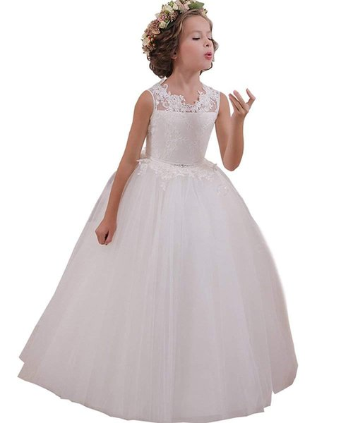 Flower Girl Dresses Back Key Hole Ball Gown Communion Gowns for Wedding