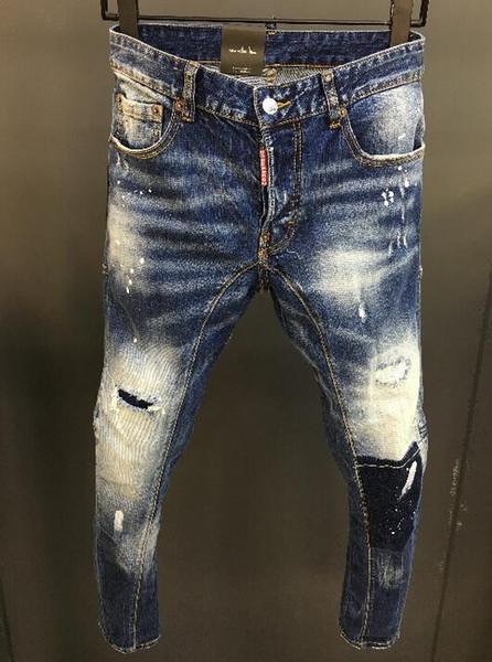 Мужчины рваные узкие джинсы Модельер мужские джинсы Тонкий мотоциклов Moto Байкер мужские джинсовые брюки хип-хоп европейский и американский стандарт размера