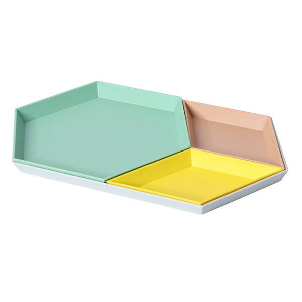 Plateau de rangement de combinaison de bureau de combinaison de bijoux de polygone nordique géométrique diamant PP plat hexagonal de plat de fruit de gâteau 4pcs / set