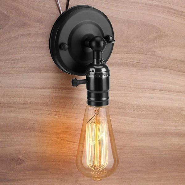 vintage black iron wall lamp retro led sconce wall light fixtures bedroom bathroom led mirror lights loft industrial home decor