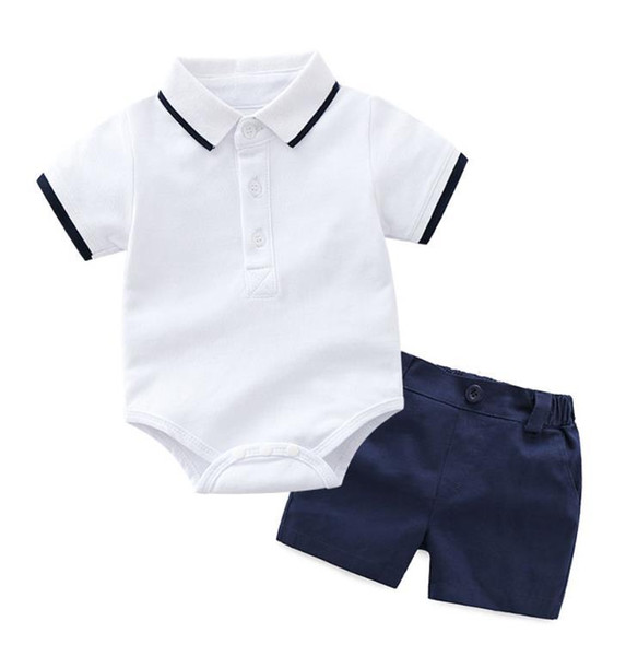 Summer Baby Boys Gentleman Striped Clothes Sets Cotton Short Sleeve Rompers Shirts + Shorts + Bow Tie 3pcs/set