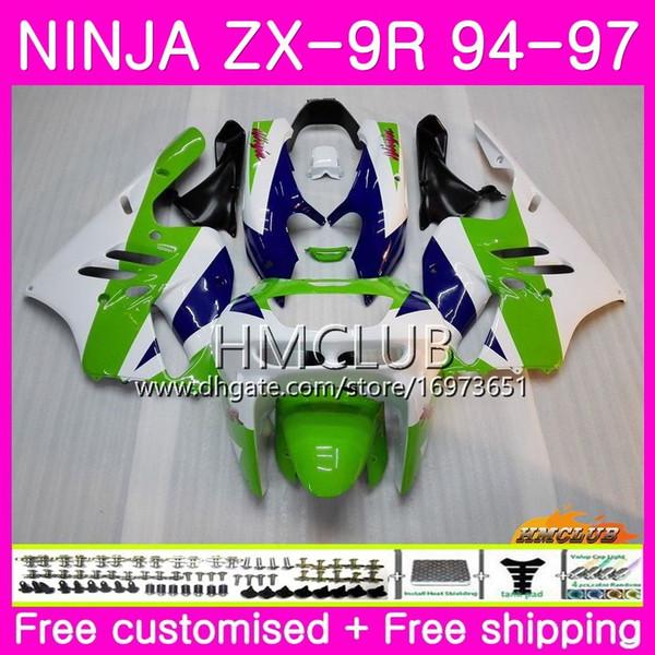 Karosserien Für KAWASAKI NINJA ZX 9R ZX900 ZX-9R 94 95 96 97 Kit Grün Weiß Nice 69HM.10 ZX 9R 94 97 900CC ZX9R 1994 1995 1996 1997 Vollverkleidung