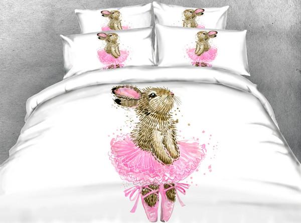 Cartoon Danza coniglio set copripiumino, Neonate Carino cotone morbido Four Seasons Bed Set con Size Pillow Shams Doppia completa Consolatore Cover Set