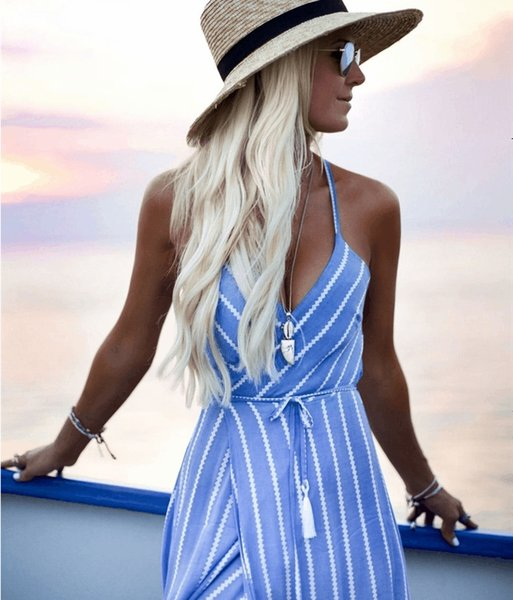 Womens Dresses 2019 Summer New Casual V-neck Slip Dress Fashion Twill Tight Skirt Sexy Belt Striped Long Skirt 4 Colors Size S-XL