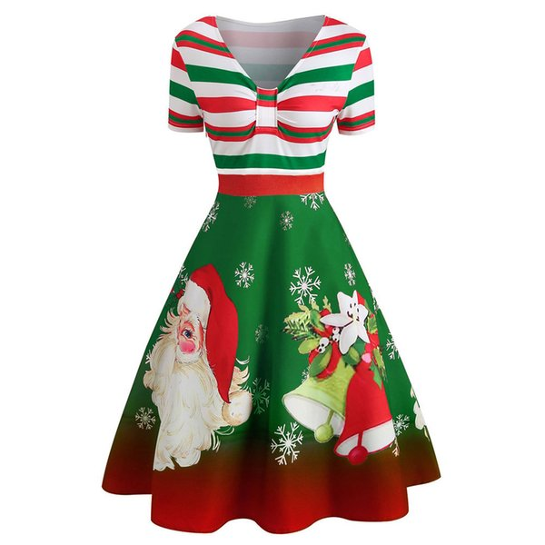 Kerst Jurk M.Fashion Womens Christmas Dress Kerst Jurk Santa Claus Stripe Print V Neck Vintage Swing Dress Vestido Navidad Mujer Xmas Summer Floral Dresses Womens