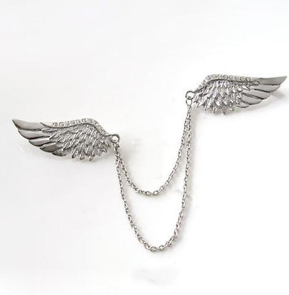 rhinestone crystal brooch Unisex Punk Rock Shirt Collar Rhinestone Crystal Double Angel Wings Chain Neck Gothic Pin Brooch