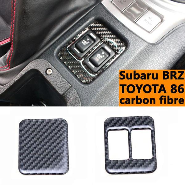 1 Pcs Recharger Carbone De Voiture Intérieur Siège De Fibre Chauffage Bouton Décoratif Cadre Modification Garniture Pour Subaru BRZ Toyota 86