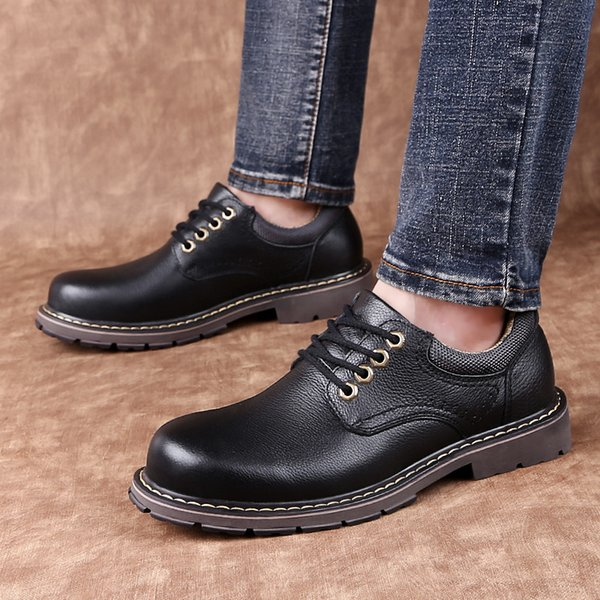 2019 new men's shoes casual genuine leather black khaki golden yellow lace up shoe man waterproof oxfords shoes for men hot sale as077