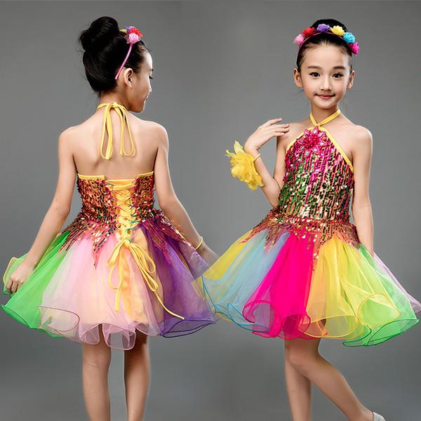 Ropa de los niños nuevo espectáculo pettiskirt del vestido de las niñas vestido de la princesa colorido rendimiento de lentejuelas de Songyuexia niños bailan la danza