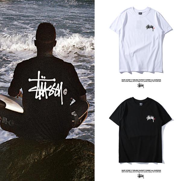 Stussys Frühjahr / Sommer neue bedruckte T-Shirt Männer und Frauen klassischen Druck vor und nach Kurzarm 2019 heißer Verkauf