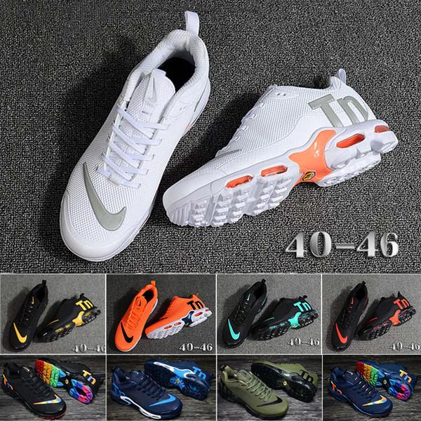 nike Tn plus air max airmax venta 13 colores Aire Mercurial Plus Ultra Tn SE Triple Negro Blanco acoplamiento respirable de los zapatos corrientes de los deportes, además de TN