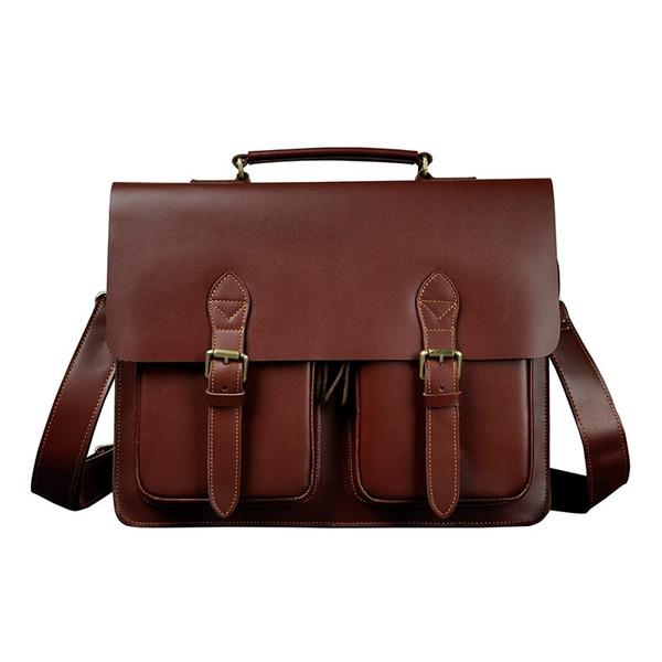 "Men Quality Leather Antique Business Briefcase Handbag 14"" Laptop Case Attache Portfolio Bag One Shoulder Messenger Bag 1061b #251507"