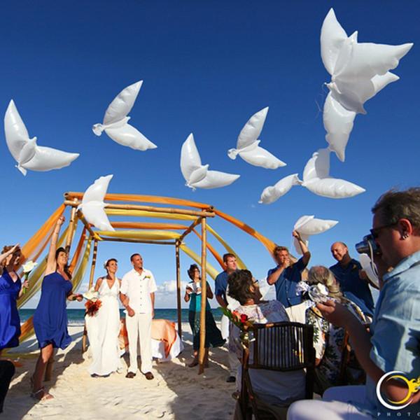 Uçan Beyaz Güvercin Balonlar Düğün Globos Balao Güvercin Balonlar Barış Kuş Topu Güvercinler Barış Güvercin Folyo Balonlar