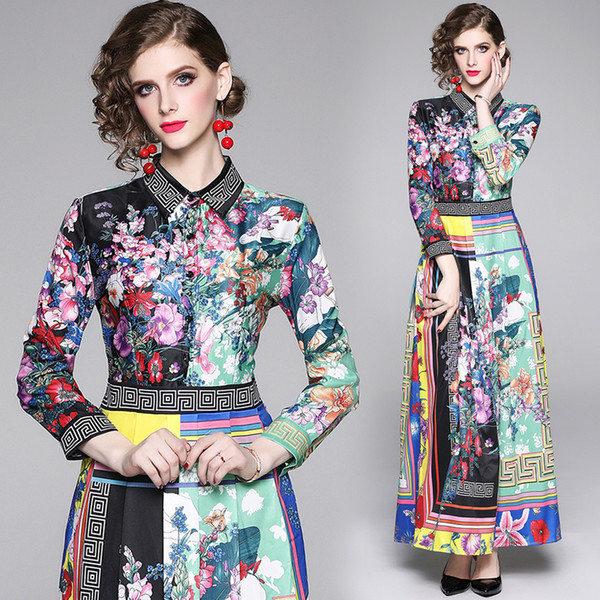 Barocco imprimé chemise robe New Style piste femmes élégant bouton avant revers col Bureau Dame sexy mince imprimé soirée soirée robes maxi
