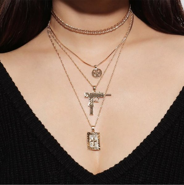 Religious Gold Plated Geometric Rosary Cross Irregular Pendant Irregular Chain Necklace Punk Statement Party